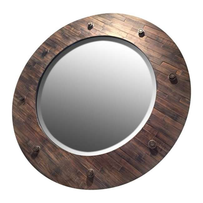 2637-B Majestic 32-Inch Rustic Wood Framed Accent Mirror