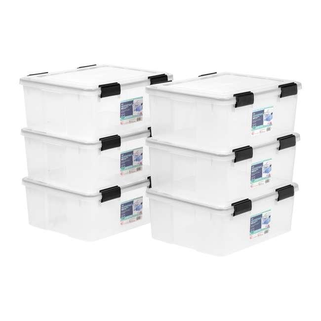 585430 IRIS USA 30-Quart Stackable Plastic WEATHERTIGHT Clear Storage Box, 6 Pack