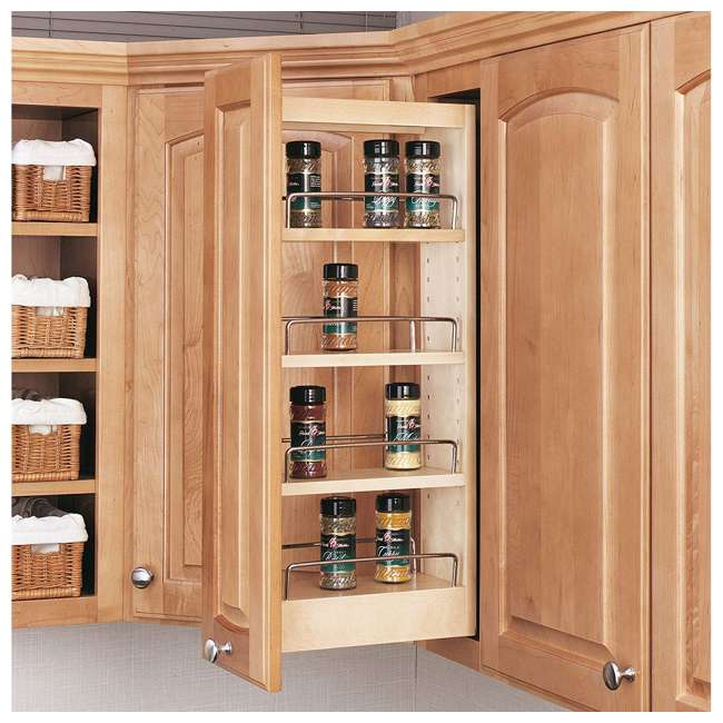448-WC-5C Rev-A-Shelf 448-WC-5C 5 In Pull Out Wall Cabinet Organizer, Maple Wood (2 Pack) 2