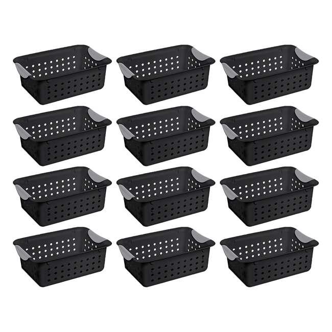 12 x 16229012 Sterilite Ultra Small Home Organization Storage Basket w/ Holes, Black (12 Pack)