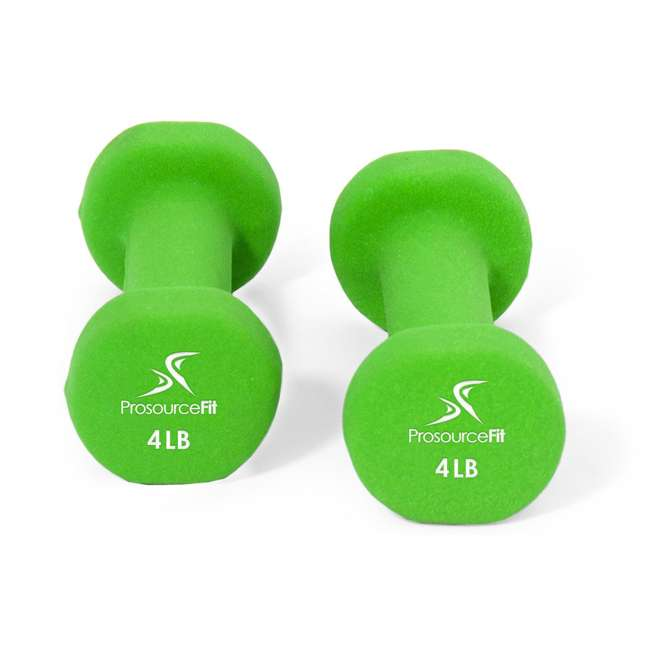 ps-1145-neo-lime ProsourceFit 4 Pound Iron Neoprene Coated Non Slip Dumbbell Weight Set, Lime 1