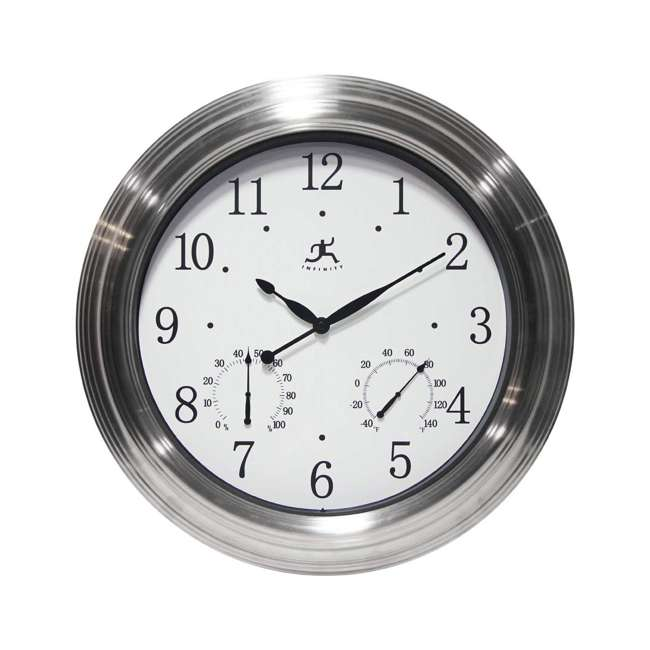 14535BN-3348W Infinity Instruments Churchill Round Indoor/Outdoor 18 inch Wall Clock, Silver