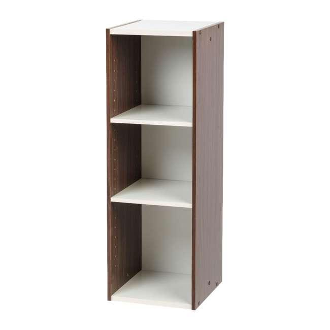 596308 IRIS USA 596308 Space Saving Adjustable Stackable Shelf Organizer, Walnut Brown