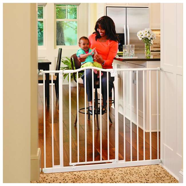 NS-4978 + NS-4974 North States Portico Arch Tall & Wide Safety Gate & 13.42 Inch Extension, Ivory 4