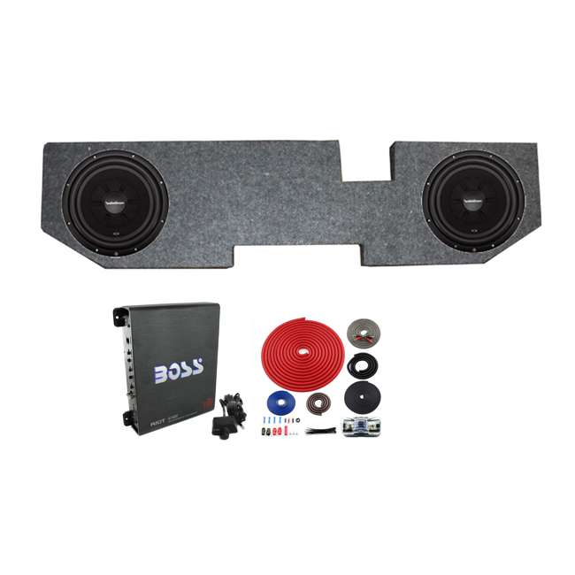 R2SD4-12 + QDODGE124DOOR + R1100M + BGE4RB Rockford R2SD4-12 12 Inch Subwoofers with Dodge Ram Quad Cab Box with Amp with Wiring (Pair)