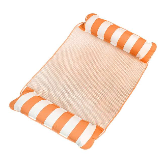 AQL10999 AquaLeisure 4-in-1 Monterey Hammock Swimming Pool Float, Orange/White Stripe