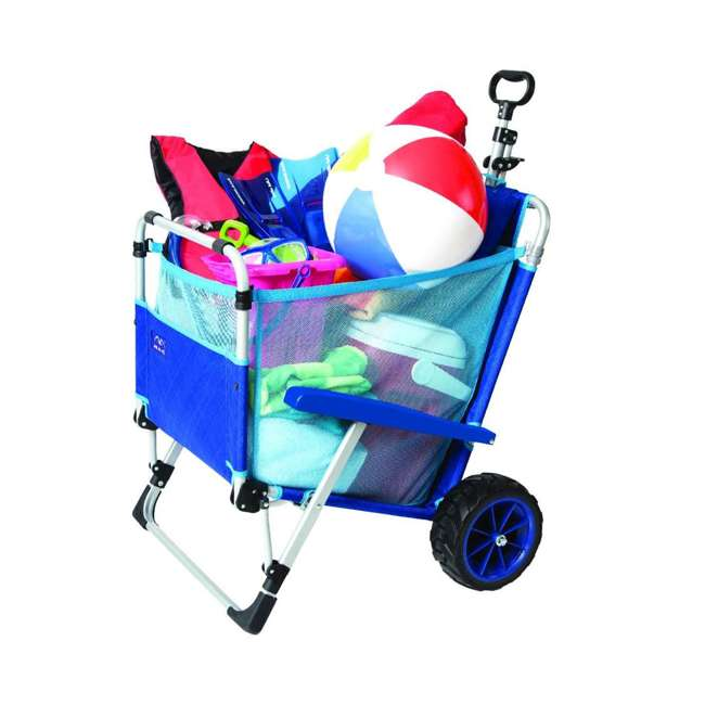 MAC-BD-200 Mac Sport 2-in-1 Beach Day Folding Lounger Chair & Wagon Cart w/ Lock, Blue 2