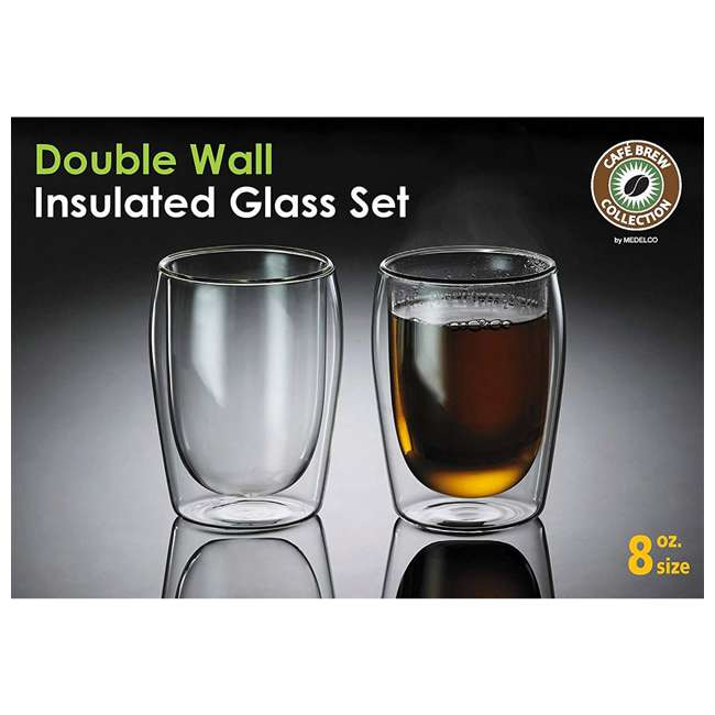 4-CUP-8OZ-2 Cafe Brew 4-CUP-8OZ-2 Double Wall Insulated 8 Ounce Heat Safe Glasses, Set of 2 1