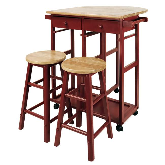 355-29 Casual Home Drop Leaf Hardwood Mobile Breakfast Cart with 2 Wooden Stools, Red