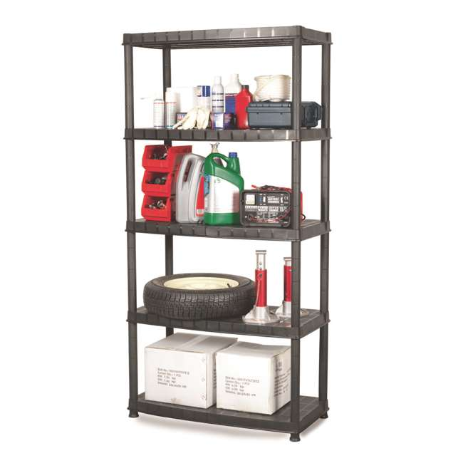 16005B-S Ram Quality Products Optimo 16 inch 5 Tier Plastic Storage Shelves, Black 1