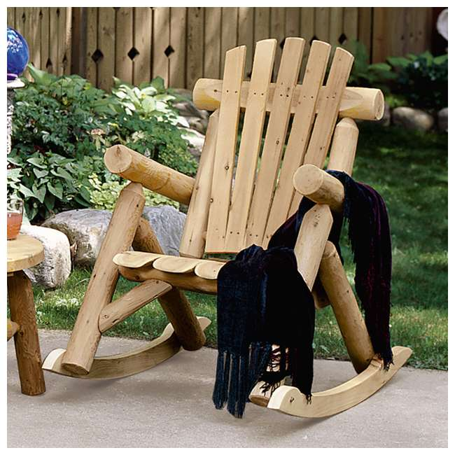 CF1125 Lakeland Mills Country Cedar Log Wood Outdoor Porch Patio Rocking Chair, Natural 3