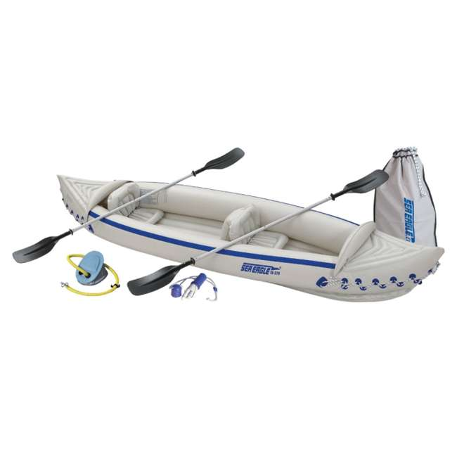SE370K-DELUXE-OB Sea Eagle 370 Kayak - Deluxe 3 Person Inflatable Boat w/ Paddles