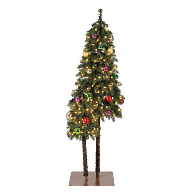 TV50P2819L01 Home Heritage True Bark 3 Foot & 5 Foot Twin Christmas Trees with White Lights 2