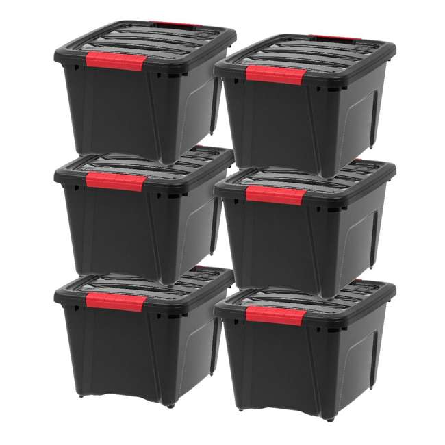 6 x 588253 IRIS USA Stack and Pull 19 Quart Storage Tote Container Box, Black (6 Pack)
