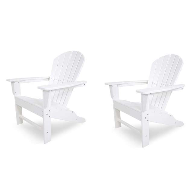 ADIRONDACKW Leisure Classics UV Protected Indoor Outdoor Lounge Deck Chair, White (2 Pack)