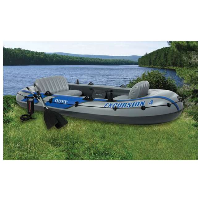 68324EP Intex Excursion 4 Inflatable Raft/Fishing Boat Set With 2 Oars(Open Box)(2 Pack) 2