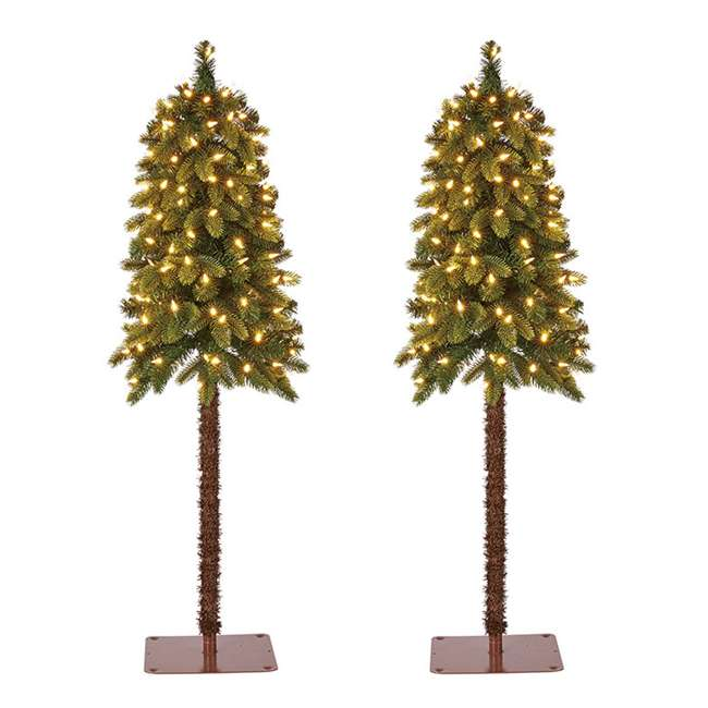 TV40P2819L00 Home Heritage True Bark 4 Foot Artificial Christmas Tree w/ White Lights (2 Pk)