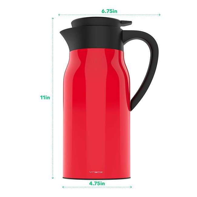 VRM020036N Vremi Carafe Commander 1.5 Liter Insulated Hot Beverage Tea & Coffee Carafe, Red 2
