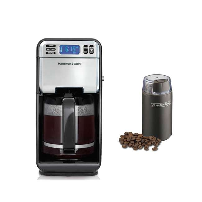 46201 + 80300 Hamilton Beach 12-Cup Coffee Maker & Proctor Silex Coffee and Spice Grinder