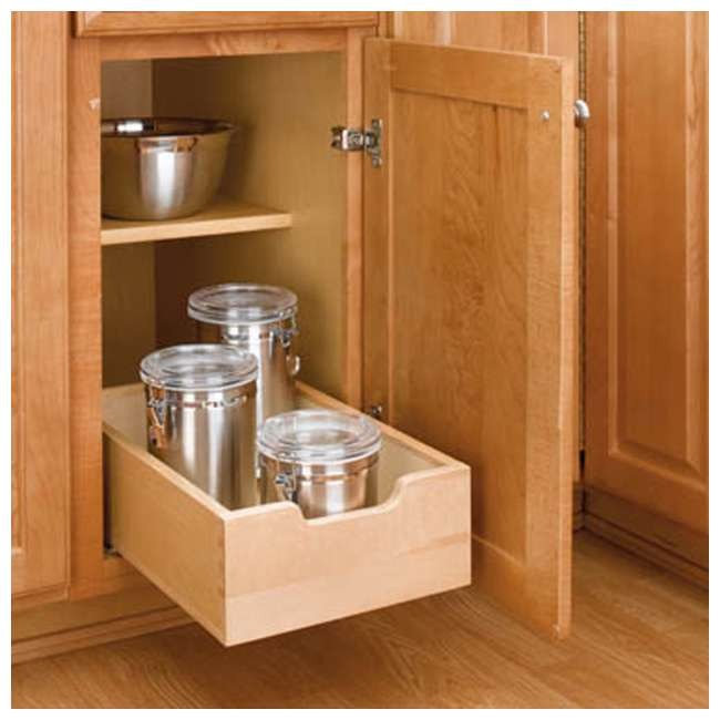 4WDB-12 Rev A Shelf Small Wood Base Kitchen Under Sink Cabinet Pull Out Drawer, Natural 1