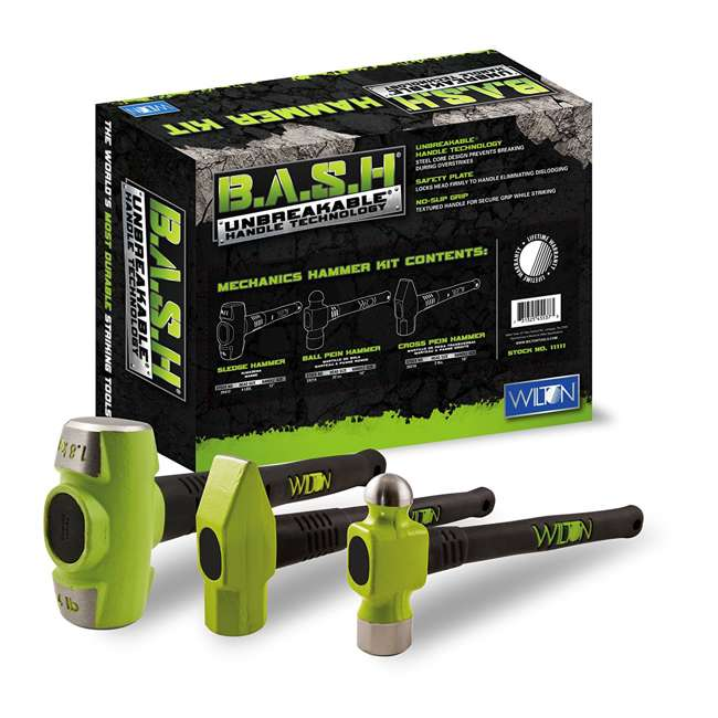 WIL-10025 + JPW-11111 Wilton 5-Inch Jaw ATV All Terrain Hitch ViseWilton BASH 3-Piece Steel Mechanics Hammer Set Kit  5