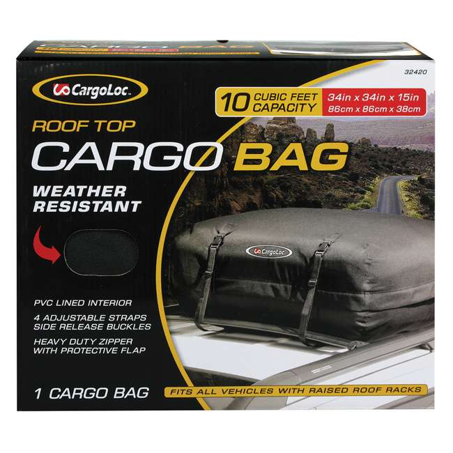 CARGO-32420-U-A CargoLoc Large Rooftop 10 Cubic Feet Deluxe Car SUV Truck Cargo Case (Open Box)