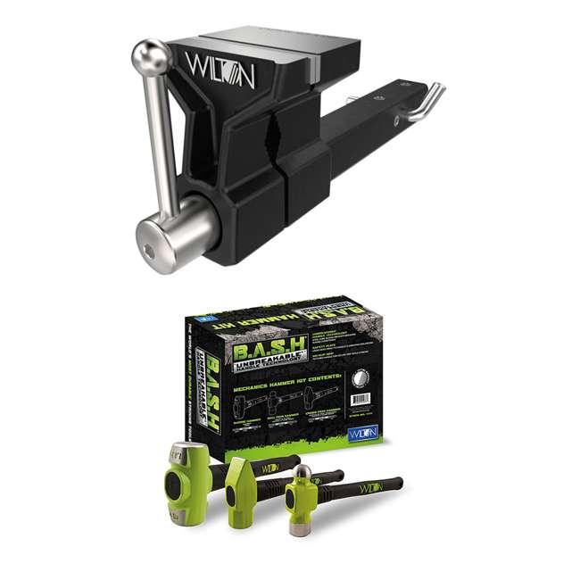 WIL-10025 + JPW-11111 Wilton 5-Inch Jaw ATV All Terrain Hitch ViseWilton BASH 3-Piece Steel Mechanics Hammer Set Kit