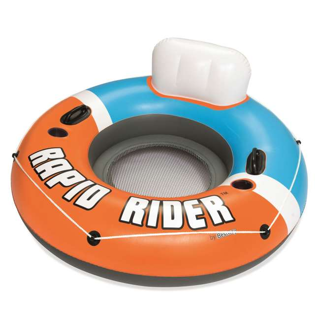 3 x 43116E-BW-NEW-U-A Bestway CoolerZ Rapid Rider Inflatable River Float, Orange  (Open Box) (3 Pack)