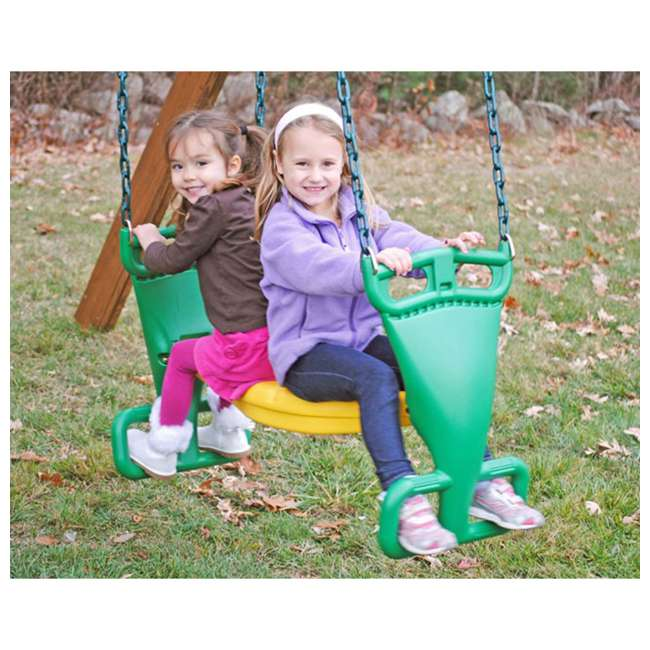 AA911-342 Creative Playthings AA911-342 Kids Swing Set Back-To-Back Glider w/ Chain, Green 1