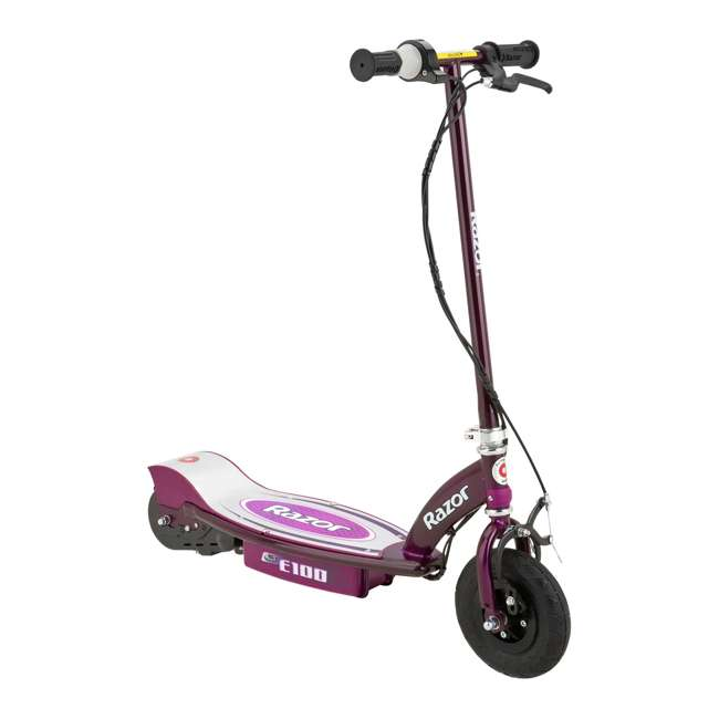 13111250 + 2 x 97778 Razor E100 Electric Scooters, Purple (2 Pack) + Helmets 2