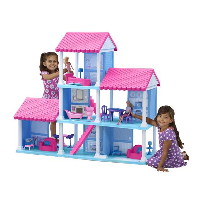 APT-90750 American Plastic Toys Fashion Doll Delightful Doll House w/ 25 Furniture Pieces