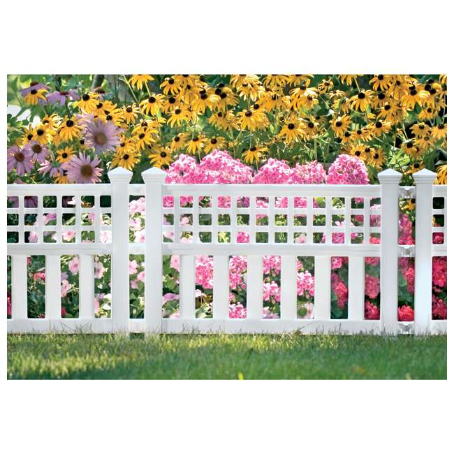 GVF243PK Suncast Grand View 14.5 x 24 Inch Resin Yard Garden Border Fence, White (3 Pack) 2