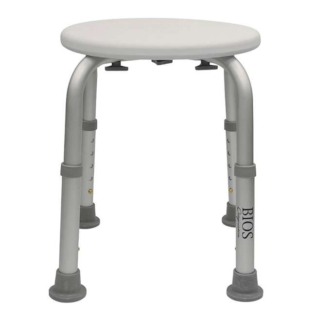 59005-STOOL Bios Living Non Slip Corrosion Free Bath Shower Stool, Gray