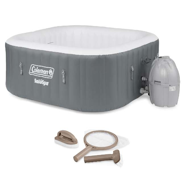 15442-BW + 28004E Coleman SaluSpa 4 Person Portable Inflatable Outdoor Hot Tub & Maintenance Kit