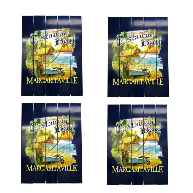 4 x RIOPSSR113-MV Margaritaville Outdoor Castaway Bay Beach Sign (4 Pack)