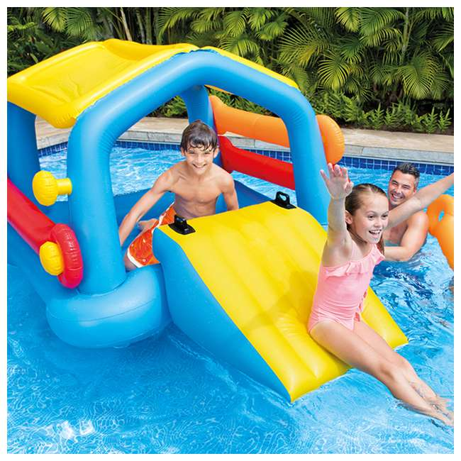 Intex inflatable island hut pool float with slide 58294ep for Pool plastik