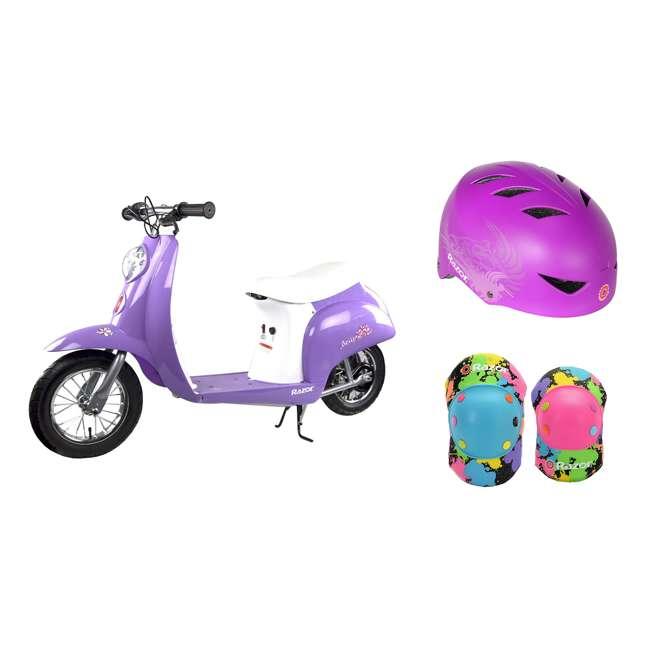 15130661 + 97973 + 96761 Razor Pocket Mod Mini Euro 24V Electric Kid Scooter w/ Helmet, Elbow & knee pads
