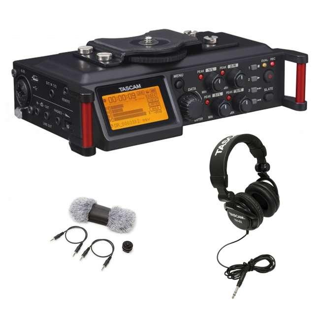 DR-70D + TAS AKDR70C + TH02-B Tascam 4-track PCM Audio Recorder + DSLR Accessory Kit + Studio Headphones