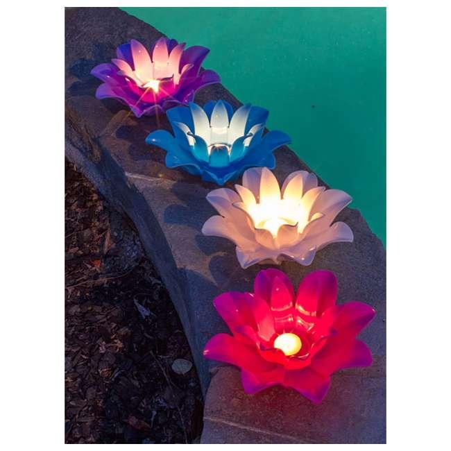 54513-U-B Poolmaster 9.75 Inch Floating Lotus Blooms Flower Pool Lights (4 Pack) (Used) 4