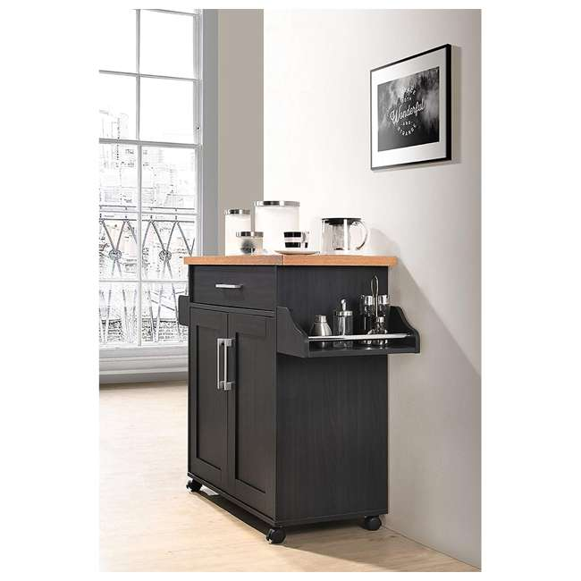 HIK78 BLACK-BEECH Hodedah Wheeled Kitchen Island with Spice Rack and Towel Holder, Black/Beech 3