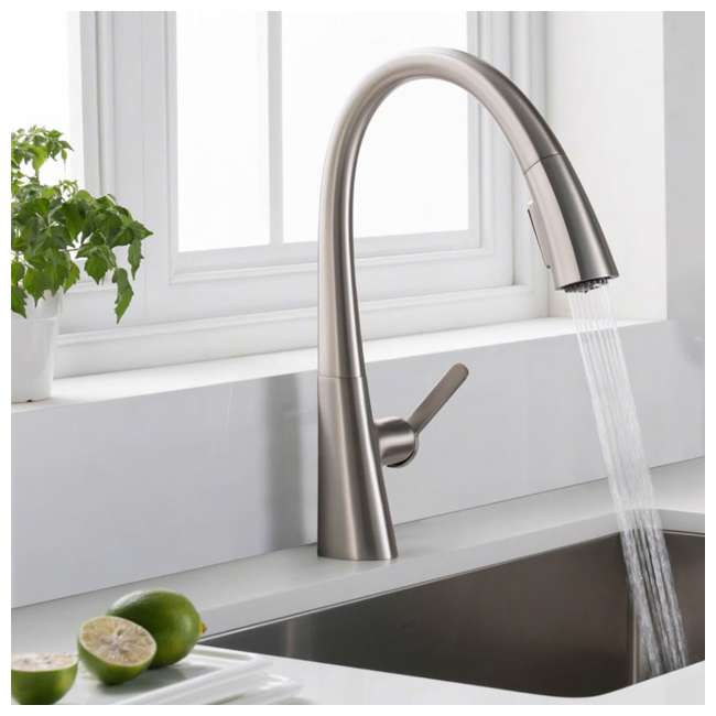 KPF-1673SFS-U-B Kraus Nolen Single Handle Pull Down Kitchen Sink Faucet Stainless Steel Finish (Used) 1