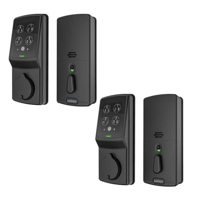 PGD728FMB Lockly Secure Plus Digital Keypad Biometric Smart Deadbolt Lock, Black (2 Pack)