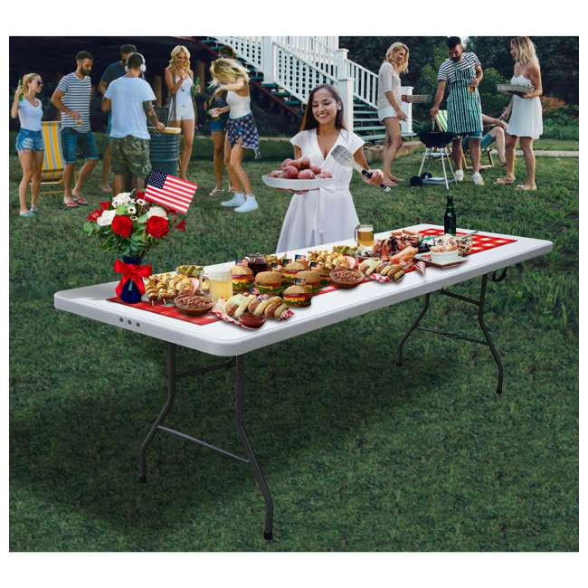 PDG-816 Plastic Development Group 816 8 Foot Fold In Half Folding Banquet Table, White 3