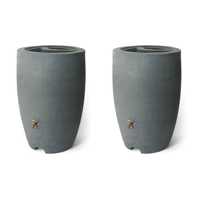 ALG-86302 Algreen Athena 50-Gallon Rain Water Collection Barrel, Charcoal (2 Pack)
