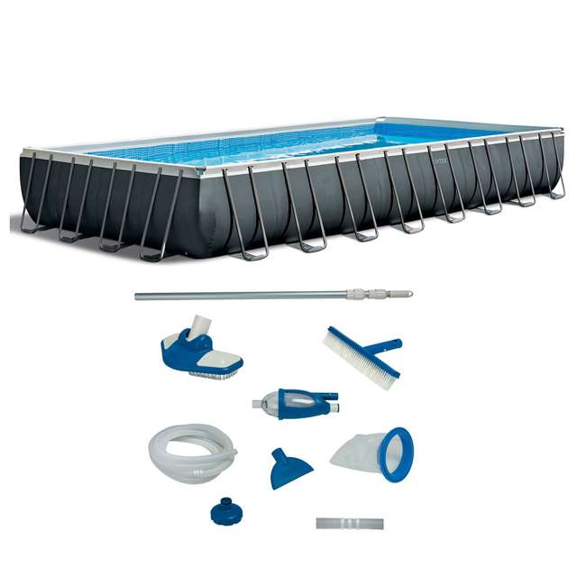 26377EH + 28003E Intex Rectangular Swimming Pool Set w/ Maintenance Kit