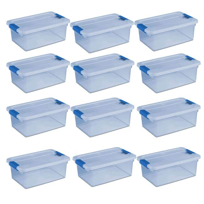 12 x 17534512 Sterilite 1753 ClearView Latch 15 Quart Plastic Storage Container Bin Box, Blue (12 Pack)