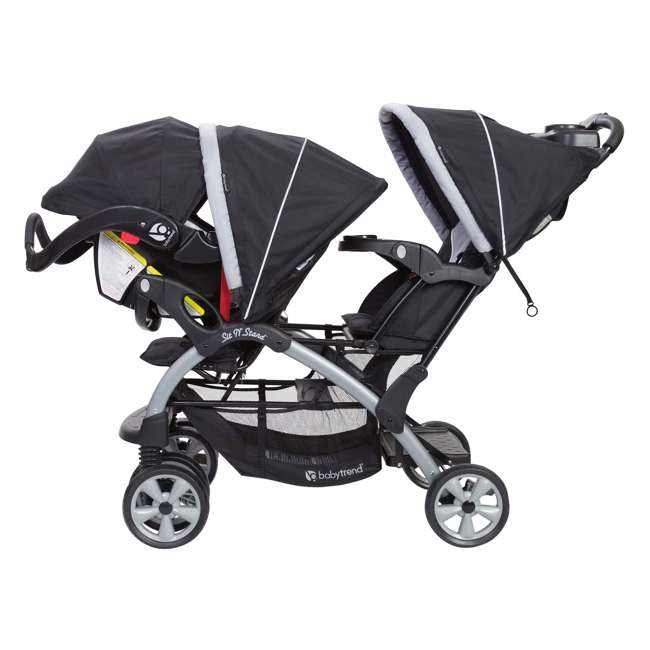 SS76B51A + 2 x CS79B51A Baby Trend Sit N Stand Tandem Stroller + Car Seats (2) Travel System, Stormy 3