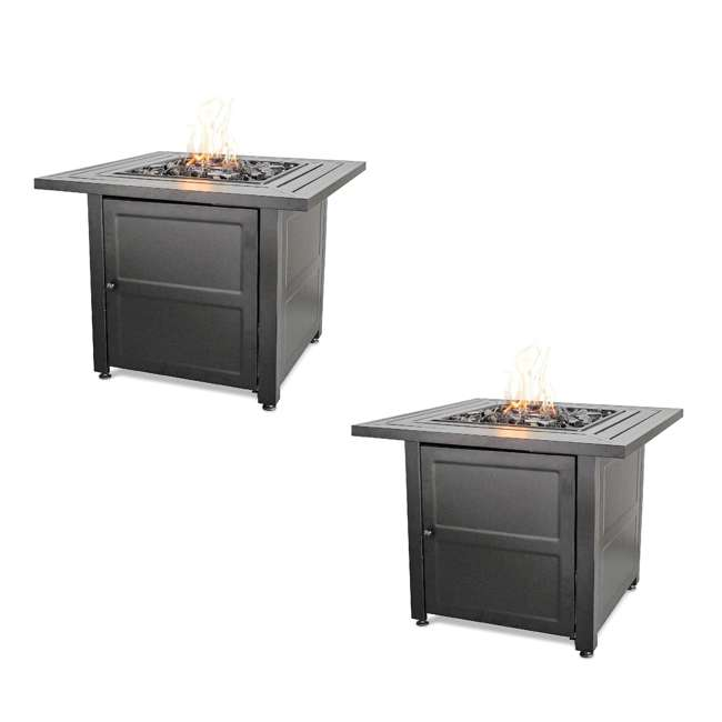 """GAD1423M Endless Summer 30"""" Propane Gas Outdoor Fire Pit Table w/ Lava Rock, Black 2 Pack"""