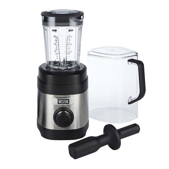 58917 + BLEND-BIBLE Weston 32 Oz Dishwasher Safe Kitchen Blender & Blender Bible 500 Recipe Book 1