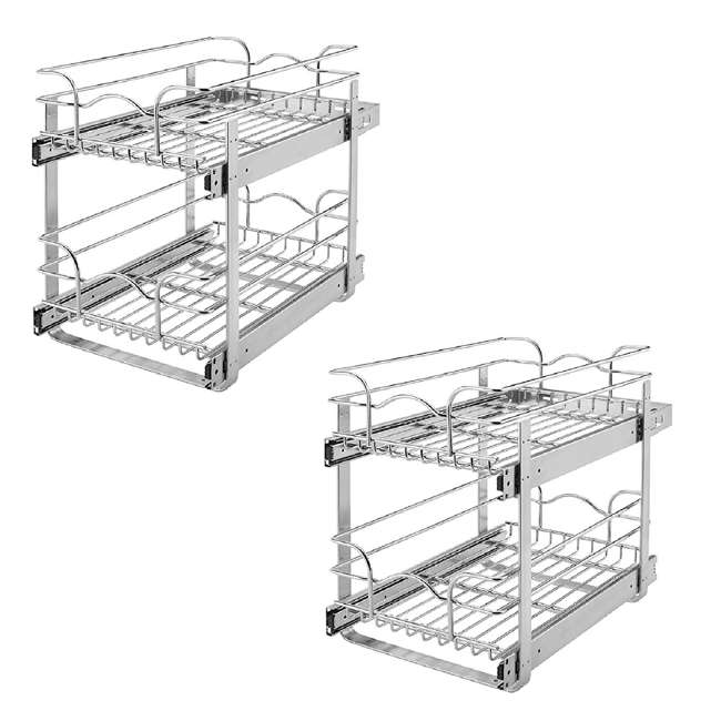 """5WB2-1522-CR + 5WB2-1822-CR Rev-A-Shelf 15""""x22"""" 2 Tier Pull Out Wire Basket 18"""" Pull Out 2 Tier Wire Basket"""